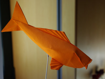 Büttenpapier Handwerk Origami Koi-Karpfen Fisch Auf Weißem ... | 300x400